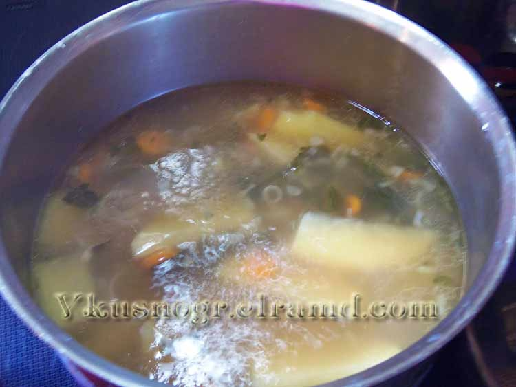 Овощи заложить в суп